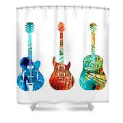 Abstract Guitars By Sharon Cummings Shower Curtain by Sharon Cummings