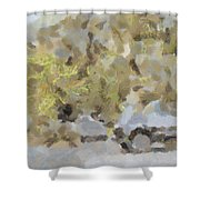 Abstract Image Of Car Passing Through A Dust Storm Shower Curtain