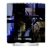 Abstract In Blue-dark Towers Shower Curtain