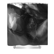 Abstract In Floral # 8 In Black And White. Shower Curtain