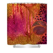Abstract In Gold And Plum Shower Curtain