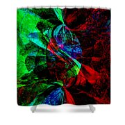 Abstract In Red And Green Shower Curtain