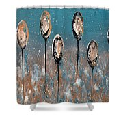Abstract In Taupe, Chamoisee And Wheat Shower Curtain