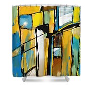 Abstract In Yellow And Blue Shower Curtain