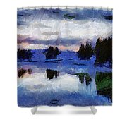 Abstract Invernal River Shower Curtain
