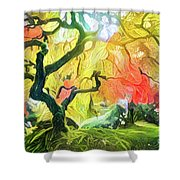 Abstract Japanese Maple Tree 5 Shower Curtain