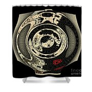 Abstract Japanese Vase Black Shower Curtain