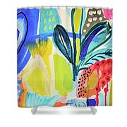 Abstract Jungle And Wild Flowers Shower Curtain