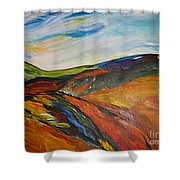 abstract landscape-Haloze Shower Curtain