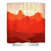 Abstract Landscape Mountain Road Art 5 - By Diana Van Shower Curtain