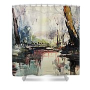 Original Watercolor Painting. Abstract Watercolor Landscape Painting Shower Curtain