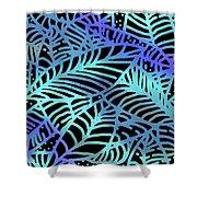 Abstract Leaves Black Aqua Shower Curtain