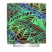 Abstract Leaves Cocoa Green Shower Curtain