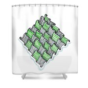 Abstract Line Design In Black And Green Shower Curtain