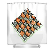 Abstract Line Design In Black And Orange Shower Curtain