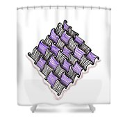 Abstract Line Design In Black And Purple Shower Curtain