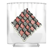 Abstract Line Design In Black And Red Shower Curtain