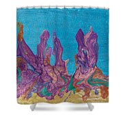 Abstract Mirage Cityscape In Blue Shower Curtain by Julia Apostolova