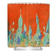 Abstract Mirage Cityscape In Orange Shower Curtain by Julia Apostolova