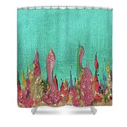 Abstract Mirage Cityscape In Turquoise Shower Curtain by Julia Apostolova