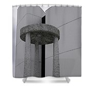 Abstract Modern Architecture And Millstone Sculpture At Scarboro Shower Curtain