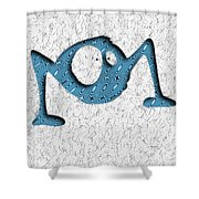 Abstract Monster Cut-out Series - Blue Rambler Shower Curtain