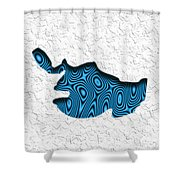Abstract Monster Cut-out Series - Blue Swimmer Shower Curtain