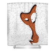 Abstract Monster Cut-out Series - Orange Slither Shower Curtain