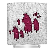 Abstract Monster Cut-out Series - Red Rally Shower Curtain