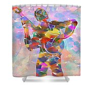 Abstract Musican Guitarist Shower Curtain