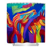 Abstract Mustangs Shower Curtain