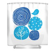 Abstract Nature Blue Shower Curtain