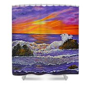 Abstract Ocean- Oil Painting- Puple Mist- Seascape Painting Shower Curtain