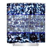 Abstract Of Blue Lights Text Shower Curtain