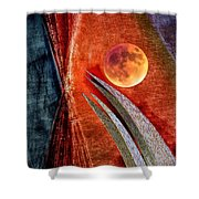 Abstract On Moon Shower Curtain