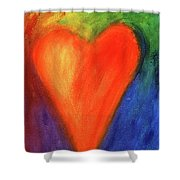 Abstract Orange Heart 1 Shower Curtain
