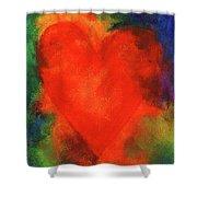 Abstract Orange Heart 2 Shower Curtain