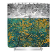 Abstract Original Painting Contemporary Metallic Gold And Teal With Gray Madart Shower Curtain