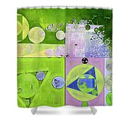 Abstract Painting - Yellow Green Shower Curtain