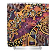 Abstract Pattern With Purple Shower Curtain