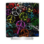 Abstract Peace Signs Collage Shower Curtain