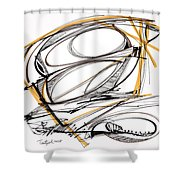 Abstract Pen Drawing Four Shower Curtain