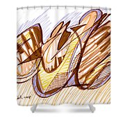 Abstract Pen Drawing Nine Shower Curtain