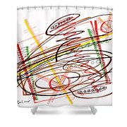 Abstract Pen Drawing Seven Shower Curtain