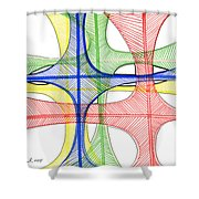Abstract Pen Drawing Seventeen Shower Curtain