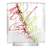Abstract Pen Drawing Seventy Shower Curtain by Lynne Taetzsch