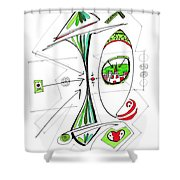 Abstract Pen Drawing Seventy-six Shower Curtain