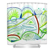 Abstract Pen Drawing Thirty-two Shower Curtain