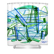 Abstract Pen Drawing Twenty-eight Shower Curtain