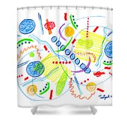 Abstract Pen Drawing Twenty-seven Shower Curtain